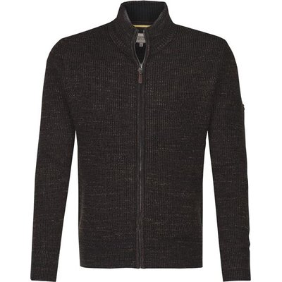 camel active modische Mouliné Herren Strickjacke in Anthrazit/Schwarz