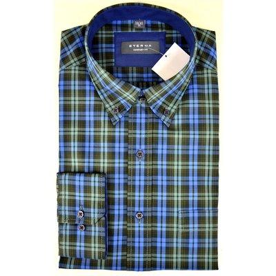 huge discount a2695 fb2fd Eterna Herren Hemd in Blau/Grün Kariert, Button Down, Comfort Fit