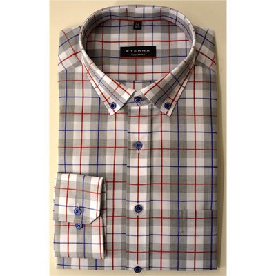 Eterna, modisches Herren Karo-Hemd mit Button Down Kragen