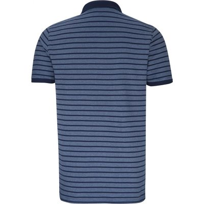 camel active-modisches Polo-Shirt in Blau/Jeansblau gestreift, Piqué-Ware