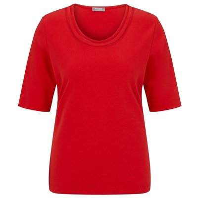 RABE, modisches Basic-Shirt in Rot, Rundhals, Baumwolle