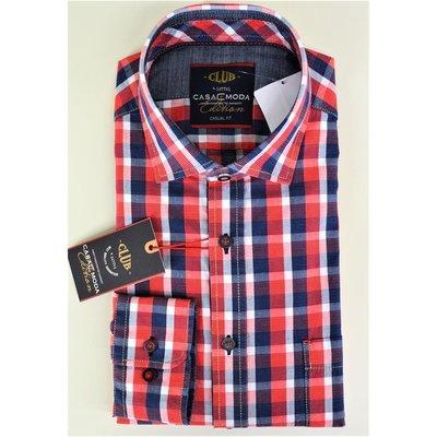 buy online b151f b9255 CASA MODA modisches Herren-Hemd mit Kentkragen Blau Rot Weiß kariert