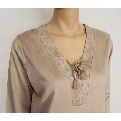 VIA APPIA - modisches Damen Long-Shirt in Beige in Veloursoptik, 3/4 Arm,