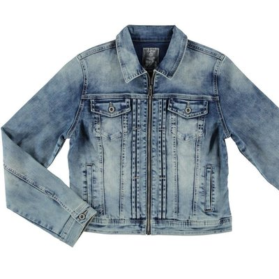 Geisha Fashion modische Damen Jeansjacke in Blue Used Stretch Slim Fit