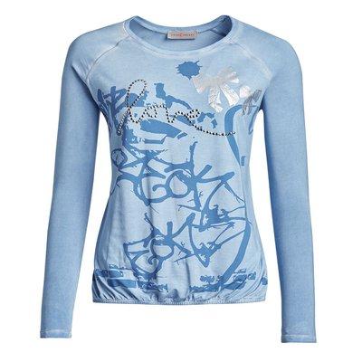 f3bff4f793 affordable your concept modisches damen langarm shirt in hellblau mit druck  und nieten with hellblau