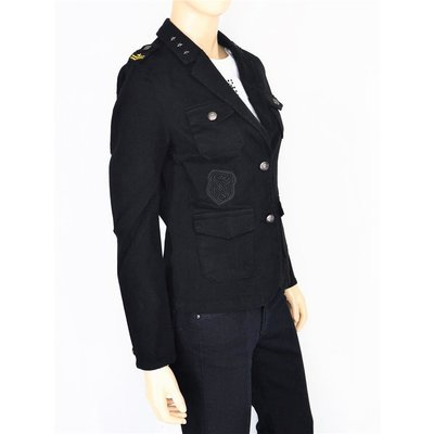 Geisha Fashion Blazer Damen in Schwarz im Military Stil Nieten/Applikationen