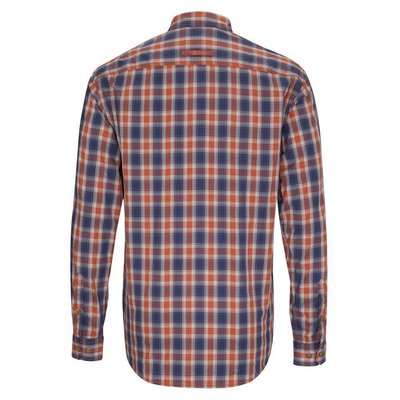 camel active Herren Karo Hemd mit Button Down Kragen Blau Orange