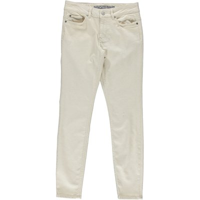 Geisha Fashion knöchellange Damen Jeans mit Leinenanteil in Offwhite, Stretch