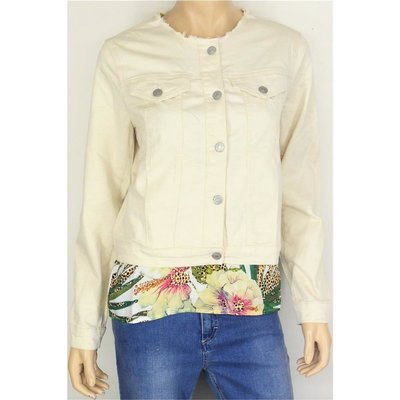 Geisha Fashion kragenlose Damen Jeansjacke in Offwhite, Stretch