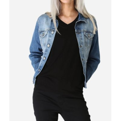 soyaconcept Jive Damen Jeansjacke in Mid Blue, Stretch