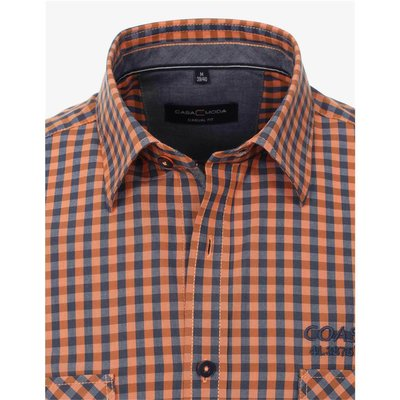 Casa Moda kariertes Herren 1/2 Hemd in Blau/Orange, Casual Fit