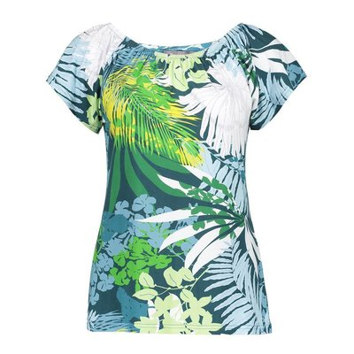 Modisches Geisha Shirt in sommerlichem Blue/Green
