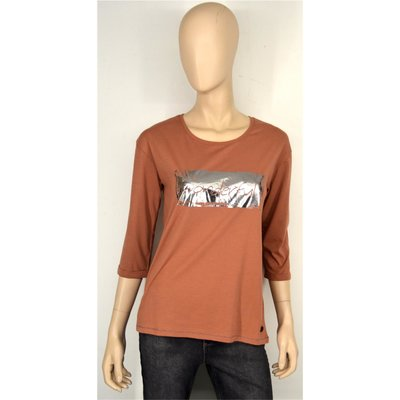 VIA APPIA, T-Shirt, 747252 750, cognac, 3/4 Arm, Druck